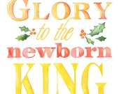 Christian Christmas Card Set of 10 - Watercolor Painting - Glory to the Newborn King
