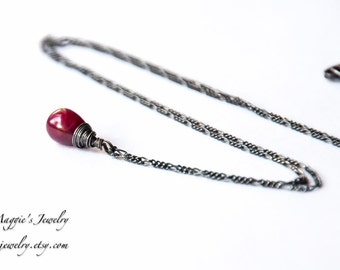 Ruby Necklace, July Birthstone, Red Ruby Gemstone, Blood Red, Oxidized Sterling Silver, Minimalist Necklace, Smooth Ruby Briolette