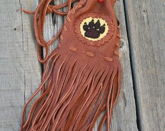 Fringed leather bag , Beaded Wolf totem ,  Leather amulet bag ,  Medicine bag