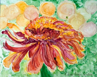 ORIGINAL Zinnia Bokeh Flower Art - Bright Orange Red with bokeh 9x11 WaterColour  ORIGINAL watercolor Paper