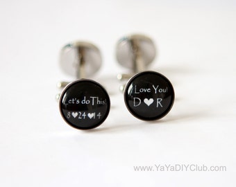 Grooms Gift from bride, Wedding Cufflinks for Groom Cuff Links, Custom Cufflinks, Personalized Cufflinks Groom Gift