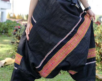 100 percent hemp Jinny Harem pants in black with orange hand embriodery Tribal Ethnic