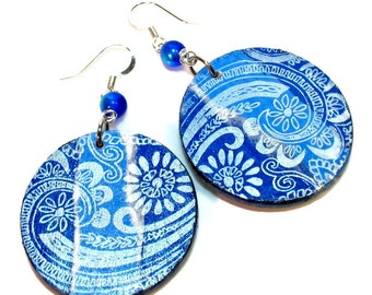 Decoupage Jewelry, Cobalt Blue Dangle Earrings, Royal Blue Paisley Lightweight Earrings