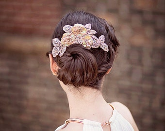 Champagne Bridal Headpiece, Wedding Headpiece, Beaded Headpiece, Sparkly Bridal Hair Piece, Bridal Hair Comb, Wedding Comb, Silver Comb