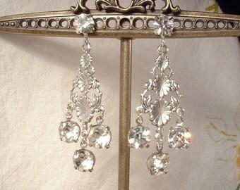 Art Deco Rhinestone Chandelier Bridal Earrings, Vintage Silver Clear Dangle Statement, 1920s Wedding, Great Gatsby Flapper Ethereal Drop