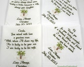 Beach Wedding / Wedding Gift / Parents Gift for Mom and Dad Mother Father of the Bride Groom Palm Tree Set of 4 Canyon Embroidery