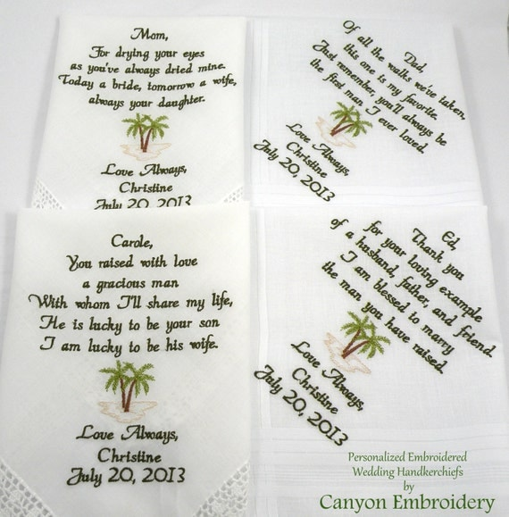 Embroidered Wedding Hankerchiefs, Wedding Gift, Wedding Gift Parents Mother Father of the Bride Groom Palm Tree Set of 4 Canyon Embroidery