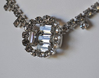 Art Deco Rhinestone Necklace and Earrings Set
