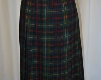 Womens Green Wool Plaid Tartan Skirt by JHCollectibles