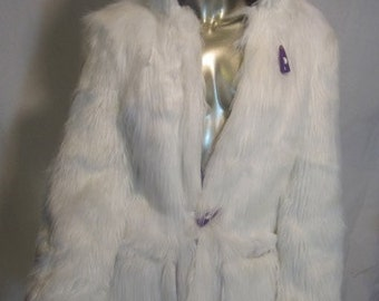 Light Up Faux Fur Coat   60 LEDs Silk blend interior Fitted SMALL Ladies -Faux Fur Coat with Lights -LED Fur Coat - Burning Man Fur Coat