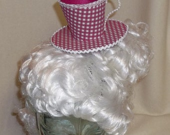 Teacup Fascinator- Dark Pink and White