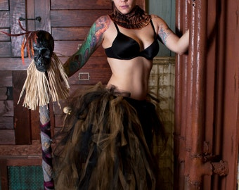 Massive VooDoo burlesque tie on bustle wrap victorian steampunk costume black gold carnival cancan -- One Size XS-XL-- Enchanted