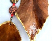 Woodland Organic Nature Earrings Real leaves and leather jewelry Natural Jewelry Recycled Winter leaves One of a Kind earrings