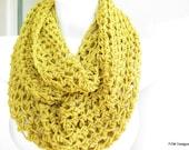 Yellow crochet cowl,  cozy mustard loop scarf,  unisex neck warmer, gift under 40