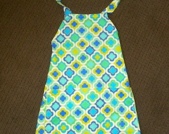 A Style Apron Medallions Teal and Citron Green