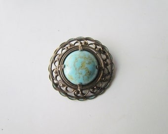 SALE-Antique Turquoise Art Glass Brooch c.1910