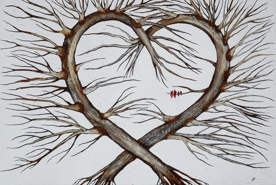 Fine Art Giclee Print of Original Painting The Heart Tree Amber Elizabeth Lamoreaux Heart Shaped Tree Red Birds Cardinals Birds