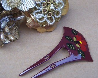Vintage hair comb Japanese kanzashi geisha hair pin hair pick hair slide hair hair fork accessory vintage hair jewelry hair ornament (ABK)