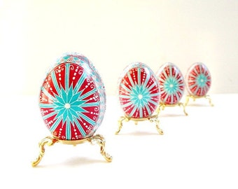 Mother's Day Red with Turquoise chicken ornament Ukrainian egg personalized available as ornament or with egg stand