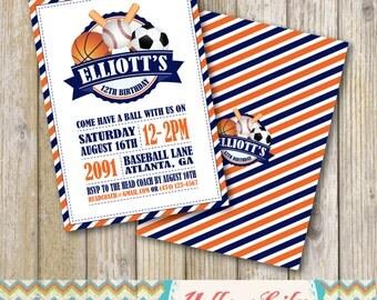 Sports Birthday Party Invitation- PRINTABLE / DIY / Basketball / Baseball / Soccer