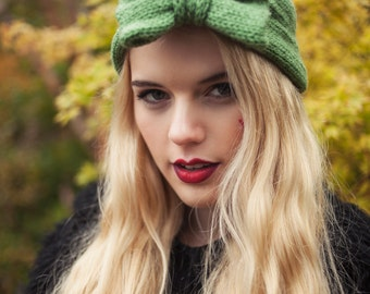 Olive Green Knitted Bow Headband, Knitted Headband, Knit Headband, Oversized Bow Headband, Cute and Cosy Ear Warmer