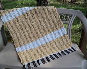 Pale Gold and White Cotton Chenille Hand Loomed Rag Rug