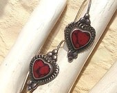 Vintage Romantic Red Heart Sterling Silver French Wire Earrings