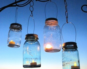 Mason Jar Lantern Lid DIY Hanging Candle Lanterns, Outdoor Lighting, As Seen on Fly Away Book, Luminary Mason Jar Lids with Handles only