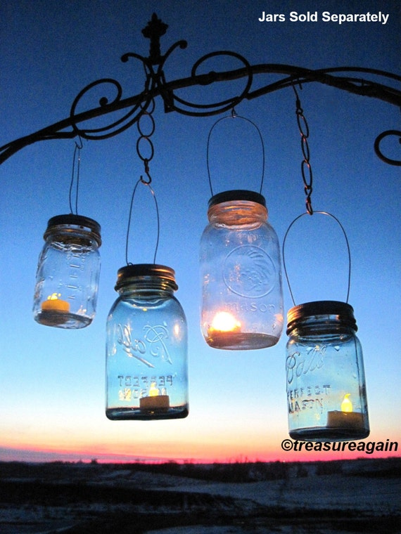 Mason jar lantern lid diy hanging candle lanterns outdoor for Hanging candles diy