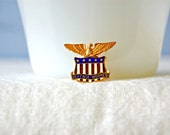 WWII Gold Eagle Pin 1940s Red White Blue Shield Enamel Service Pin Patriotic Americana World War II Sweetheart Homefront Defense Worker