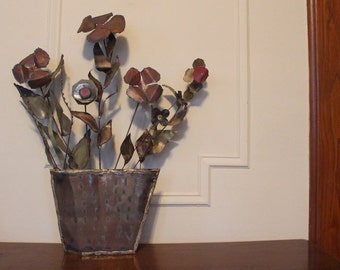 c jere style metal sculpture - vintage 1970s Flower Pot  Wall Art