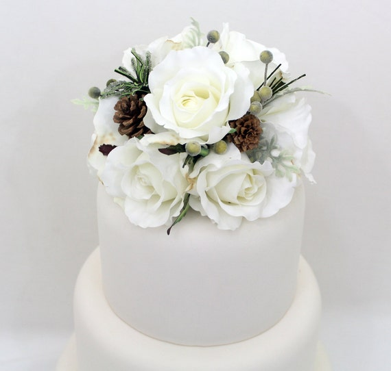 Silk Flower Wedding Cake Toppers: Winter Wedding Cake Topper White Rose Pine Cone Silk Flower
