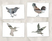 bird postcard set, animal postcards, set of 4,bird silhouette art, whimsical animal art, gray green brown reclaimed wood art, woodland decor