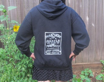 Punk Hoodie - Your Heart is a Muscle the Size of Your Fist, unisex Medium, anarchy hoodie, anarchist, radical protest, hoody jumper,
