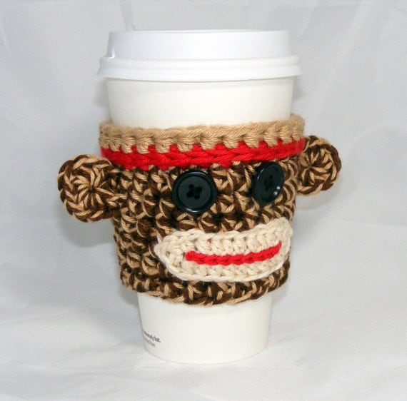 Sock Monkey Coffee Cup Cozy cup sleeve handleless for disposable cup