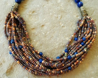 Multy Strand Statement Necklace, Anthropologie Necklace, Cobalt Agate Beads, Aged Glass Beads