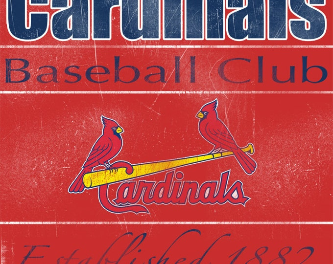 St Louis Cardinals Vintage Wall Art Banner on REAL WOOD 16x20