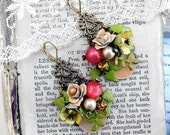 Wild Garden,Miriam Haskell style Vintage Peach & yellow Enamel Flowers, Coral Pearls and Rhinestone Altered Vintage Assemblage Earrings