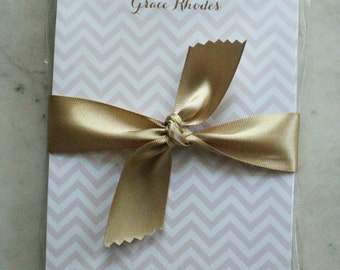 chevron notepad / teacher gift / hostess gift - 50 sheets (pink and gold)