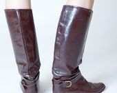 Brown Leather Boots with Ankle Buckle