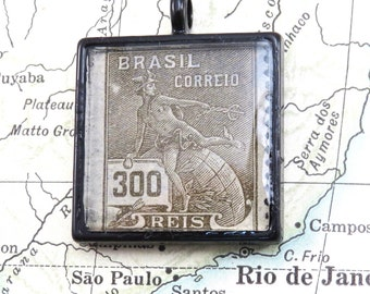 Vintage Brazil South America Postage Ares Stamp Necklace Pendant Key Ring