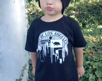 Los Angeles City Of LA Skyline Kid Shirt by Graphic Villain printed on ultra soft ring spun cotton