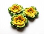 Spring flowers applique -  yellow flowers embellishments - kids party decorations - crochet flowers - set of 3