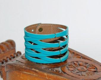 BraideTurquoise Leather Cuff Bracelet