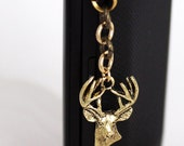 Deer Dust Plug Charm - Buck Deer Head, Cell Phone Charm, Silver Charm or Gold Charm, iPhone Accessory