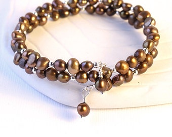 Chocolate Pearl Bracelet - Coffee Brown Freshwater Pearls, Memory Wire Beaded Wrap Bracelet, Pearl Drops