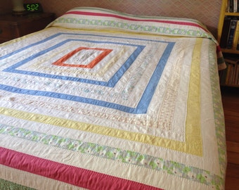 Vintage Queen Sized Quilt - Hand Quilted Squares Box Design - 1951