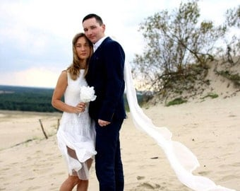 Felted dress - Felt white wedding Dress White color Merino Wool and Silk  original Handmade eco friendly comfortable Women dress