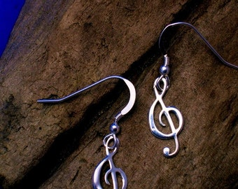 Treble Clef Earrings,Silver, Music  jewellery,  Music Note Earrings, G- clef, Music Jewellery,  Gift for Musician, Gift wrapping available.