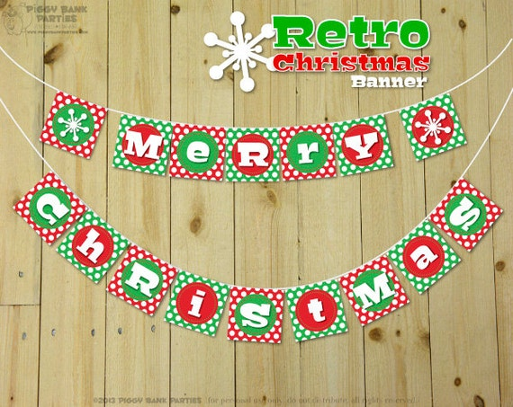 Items similar to RETRO CHRISTMAS Banner - DIY Printable Merry ...